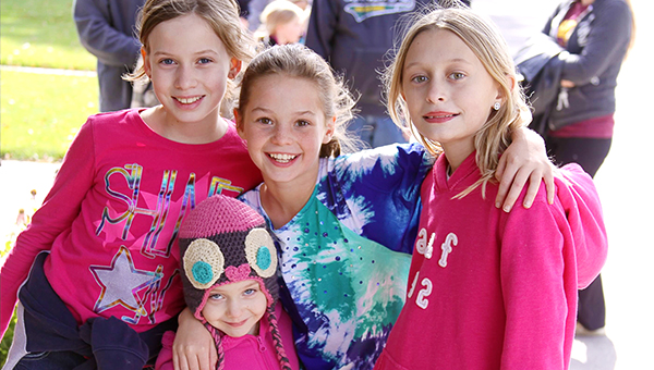 Participants gather Oct. 10 at the St. Theodore Marathon. From left are fourth-grader Ava Troster, pre-kindergartener Emilie Troster, fourth-grader Avery Benda and fourth-grader Jade Hightower. — Provided