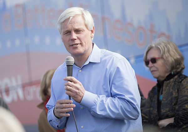 Minnesota Speaker of the House Paul Thissen speaks Wednesday during a DFL campaign stop at Union Center. – Colleen Harrison/Albert Lea Tribune