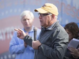 U.S. House Rep. Tim Walz speaks during a DFL campaign stop Wednesday at Union Center. Walz is up for re-election Tuesday. – Colleen Harrison/Albert Lea Tribune