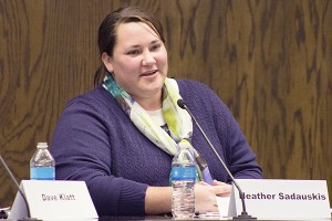 Heather Sadauskis looks to the crowd as she answers a question during the school board debate on Wednesday night at City Hall. — Hannah Dillon/Albert Lea Tribune