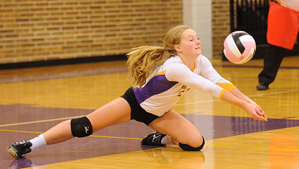 Emily Orban of Lake Mills dives to dig the ball Friday against Clarion-Goldfield-Dows in the Class 2A Region 5 semifinals. — Micah Bader/Albert Lea Tribune