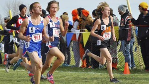 Jackson Goodell runs in the Class AA state cross country meet Saturday at St. Olaf College in Northfield. – Rocky Hulne/Albert Lea Tribune