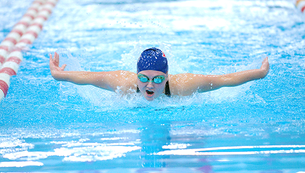 Samantha Nielsen of Albert Lea swims the butterfly portion of the 200-yard individual medley Friday in the Section 1A finals at Rochester Recreation Center. Nielsen qualified for state in the 100 breaststroke with a time of 1:09.69, which gave her fifth place and was 0.43 seconds under the state cut time. — Micah Bader/Albert Lea Tribune