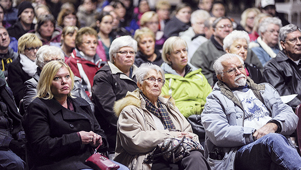 A large crowd was on hand Thursday night at The 1910 in Austin for the town hall meeting to save Target. – Eric Johnson/Albert Lea Tribune