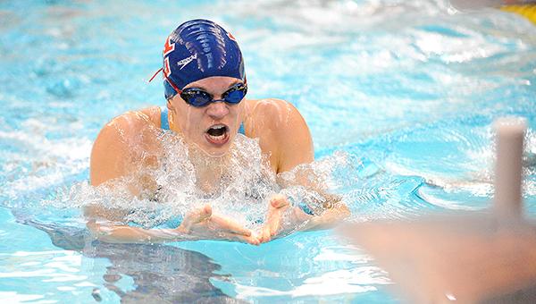 Lindsey Horejsi of Albert Lea swims the 200-yard individual medley Thursday in the Class A state prelims at the University of Minnesota Aquatic Center. — Micah Bader/Albert Lea Tribune