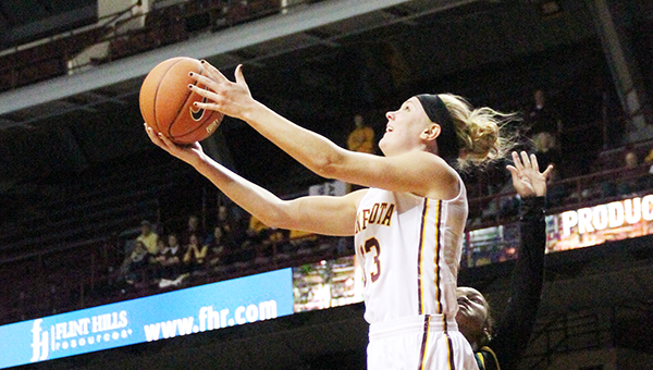 Carlie Wagner performs a reverse layup Friday in the Minnesota squad's 49-point victory over Southeastern Louisiana. Tim Engstrom/Albert Lea Tribune