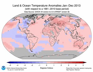 This map from the National Oceanic and Atmospheric Administration shows temperature anomalies for 2013. In color, the red areas were warmer than the 30-year norm and the blue areas were cooler than the 30-year norm. The heart of North America, including Minnesota, is blue while Russia and Eastern Europe is red.