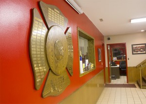A few walls on the main level of the Northwood Volunteer Fire & Rescue Company building were painted red right before the announcement that the fire department had been chosen for a $10,000 makeover. The red matches new chairs that can now be used on that level. — Sarah Stultz/Albert Lea Tribune