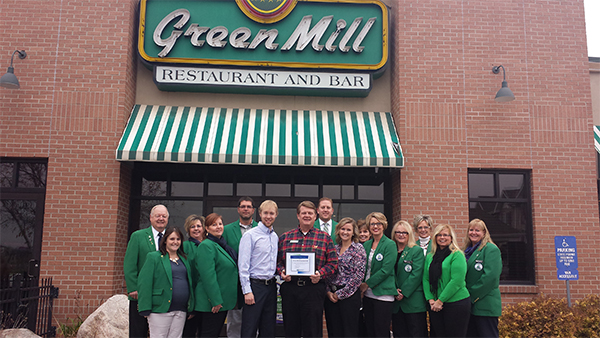 Albert Lea-Freeborn County Chamber of Commerce Ambassadors welcome new owners Hillary and Tobin Korpi of the Green Mill Restaurant & Bar to the Chamber. — Provided