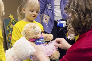 After the students picked out their bears, they immediately wanted to show off their gifts. – Hannah Dillon/Albert Lea Tribune