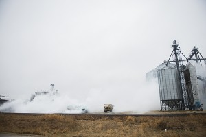 Anhydrous ammonia encompasses Clarks Grove Fertilizer Monday after a leak in the tank of a semi on the grounds. – Colleen Harrison/Albert Lea Tribune