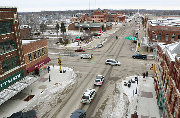 The intersection of Broadway and Main Street as it presently appears with four traffic lanes on South Broadway. - Provided