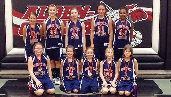 The Albert Lea fourth grade girls' basketball team took second place Feb. 14 at a tournament at Alden. Front row from left are Ali Butt, Alexis Jones, Elizabeth Wallace, Aimee Peterson and Morgan Luhring. Back row from left are Katelyn Oudekerk, Maddie Vandersyde, Lydia Lloyd, Kendall Kenis, Janae Caballero-Walker. The team is 10-4 and concluded the season Saturday at Fairmont. — Provided