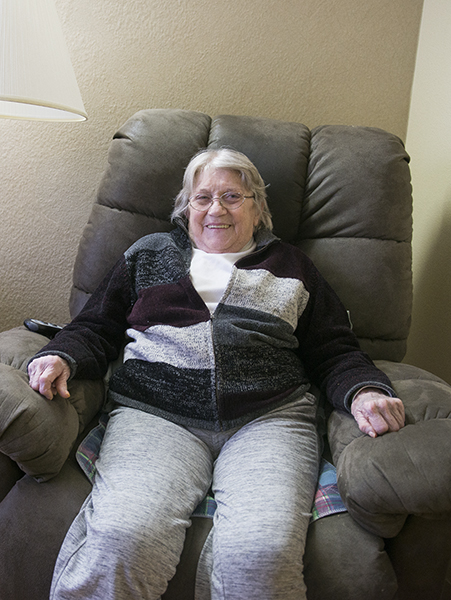 Gloria Lashbrook has been in a wheelchair for about a year. She has had both of her knees replaced, one of which got infected and will need another surgery. - Colleen Harrison/Albert Lea Tribune