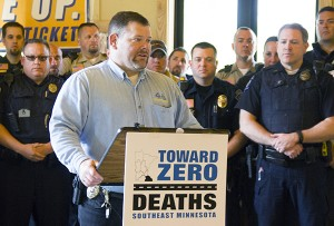 Albert Lea Police Department Lt. Jeff Strom speaks during a press conference kicking off a seat belt enforcement campaign that will last through May 31. - Sarah Stultz/Albert Lea Tribune