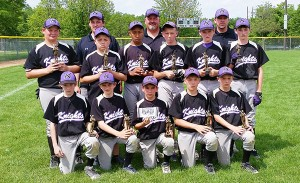 The Albert Lea Knights 12AAA baseball team took second place out of 12 teams at the Burnsville Invitational Tournament from June 5 to 7 to earn bids to three state tournaments: Minnesota Baseball Tournament, Gopher State Tournament and the Minnesota Sports Federation Tournament. Front row from left are Markus Dempewolf, Jack Ramaker, Joe Flores, Blake Ulve and Caden Gardner. Middle row from left are Trevor Ball, Ethan Ball, Javarus Owens, Jack Jellinger, Caden Jensen and Jake Weseman. Back row from left are coaches Chris Weseman, Brian Ball and Brian Gardner. - Provided