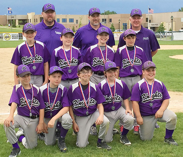 After earning at trip to the Minnesota Baseball Tournament for its first state berth of the season during May's Richfield Tournament, the Albert Lea Knights 11AA baseball team took second place at the Mankato Royals Classic June 6 and 7 to earn a second state berth in the Minnesota Sports Federation Tournament. The Knights dropped their first two games during pool play on June 6 but rebounded June 7 in bracket play with a 7-2 win over Austin and a 6-3 victory over Rochester to qualify for the championship game. Front row from left are Levi Neist, Carter Miller, Steven Strom, Brennan Bakken and Braden Fjelsta. Middle row from left are Henry Eggum, Will Steene, Dylan Carlson and A.J. Ramaker. Back row from left are coaches Chad Steene, Karl Eggum and J.D. Carlson. Truman Knudtson and manager Brad Fjelsta are not pictured. - Provided