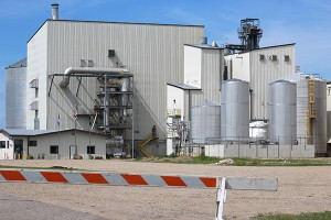 A barricade blocks off the entrance to Poet Biorefining Sunday afternoon after an explosion was reported there earlier in the day. - Sarah Stultz/Albert Lea Tribune