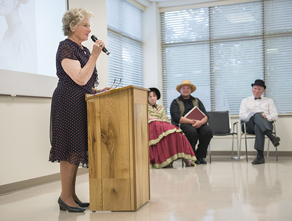Marion Ross portrays Sadie Bliss Cox during Echoes from the Past: A Journey into History Wednesday at the Freeborn County Historical Museum. - Colleen Harrison/Albert Lea Tribune