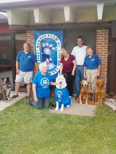 The Kennel Club of Freeborn County recently received a Blue Zones designation. Representing the club are Kent Rahn and his dog, Sam; Lora and Randy Low and their dog, Rhett Barkley; Sharon Buley and her dogs Reuben and Nick; and Lori Ashleson and her dog, Willie. - Provided