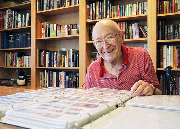 Albert Lea resident Bill Sturtz, a former judge in Freeborn County, is donating his collection of about 11,000 stamps to the Freeborn County Historical Society this week. - Sarah Stultz/Albert Lea Tribune