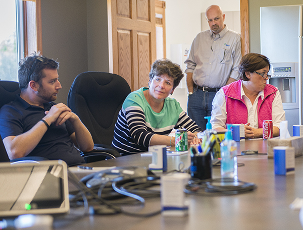 District 27A Rep. Peggy Bennett, R-Albert Lea, sits in on a presentation on the REG biodiesel refinery south of Albert Lea Tuesday. - Colleen Harrison/Albert Lea Tribune