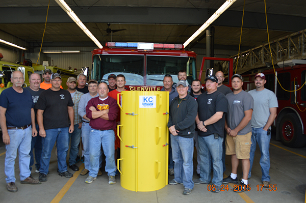 The Glenville Fire Department recently received a new aluminum grain rescue tube after winning a national contest sponsored by Nationwide. - Provided