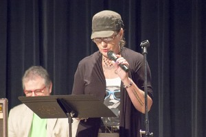 Kim Scott, who has been writing poetry since she was a child, read one of her poems Friday night at Recovery's Got Talent at Crossroads Church. - Hannah Dillon/Albert Lea Tribune