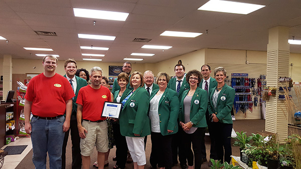 The Albert Lea-Freeborn County Chamber of Commerce Ambassadors welcome Thom Theeseld from Elite Pet & Garden Inc. to his new location in Northbridge Mall. Provided