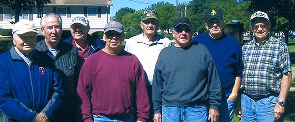 Four doubles teams tied for first place in the season-ending round-robin tournament in a horseshoe league at Albert Lea. From left is Emil Malakowsky, Bob Probst, Dave Olson, Bill Fletcher, Mike Levisen, Duaine Jacobsen, Duane Hendrickson and Gene Peterson. Probst was the leader for the season with an 80 percent winning rate. He also had the most double ringers in the group with 19. - Provided