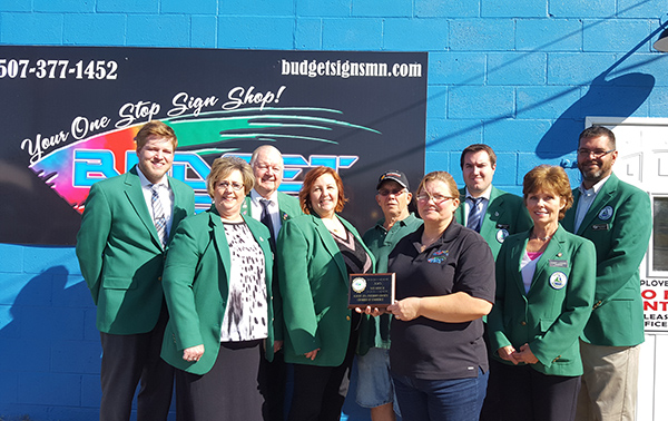 Albert Lea-Freeborn County Chamber of Commerce Ambassadors welcome Hillorie Lopez from Auto Artist/Budget Signs to the chamber. -Provided