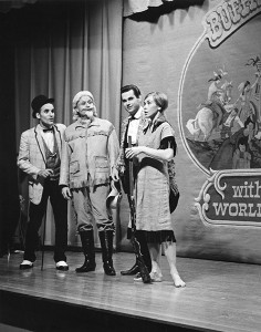 "The cast of ""Annie Get Your Gun"" stands in front of sets created by David Nordahl in 1966. Pictured, from left, are John Polis, Dr. Sanford Egge, Craig Rathgob and Nancy Campbell. - Photo courtesy of the Freeborn County Historical Society"