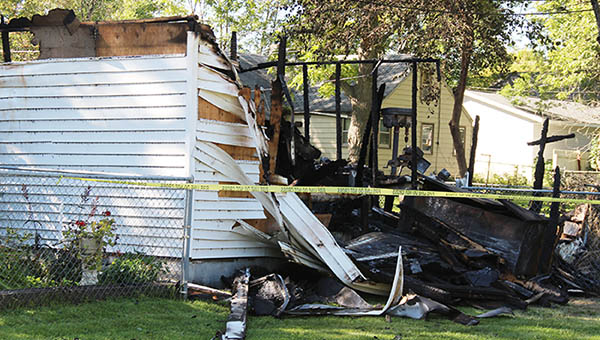 A garage at 206 Fenton Ave.  is a total loss after a fire early Sunday morning. Sarah Stultz/Albert Lea Tribune