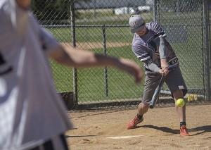 Paul Harris bats during the eighth annual Ryan Truesdell Memorial Softball Tournament Sunday at Snyder Field. -Colleen Harrison/Albert Lea Tribune
