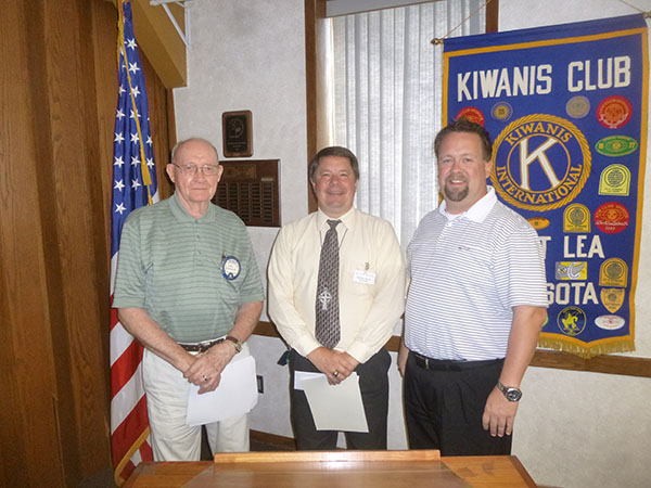 Leo Osbeck, left, and Noon Kiwanis President Lance Skov, right, welcome Don Malinksky to their organization. Malinsky was inducted into the Noon Kiwanis on July 27. Osbeck will serve as Malinsky's mentor. - Provided