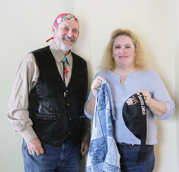 Richard and Jane Miller donate do-rags and bandanas to the homeless and cancer patients as a part of their ministry. - Sam Wilmes/Albert Lea Tribune
