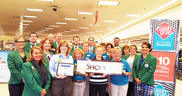 Albert Lea-Freeborn County Chamber of Commerce Ambassadors welcome Karla Tukua, store manager from Shopko, to the chamber. Provided