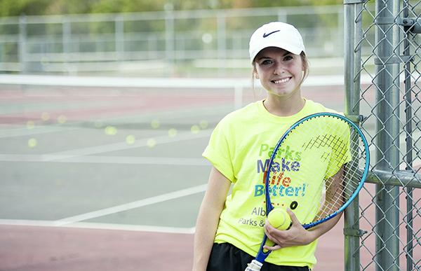 Rachael Wallin, a senior on the Albert Lea girls' tennis team, stands Wednesday at the Albert Lea High School tennis courts. Wallin is the Tigers' starter at No. 2 singles. - Micah Bader/Albert Lea Tribune