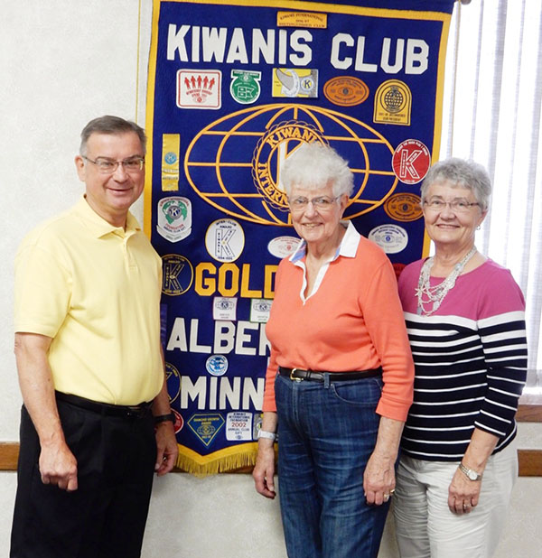 Kiwanis Golden K1 President Tom Knudtson welcomes new members Adean Turner and Carolyn Neale. - Provided