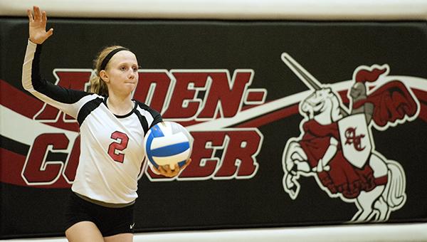 Alden-Conger's Erika Bute prepares to serve Monday against Glenville-Emmons at Alden. — Micah Bader/Albert Lea Tribune
