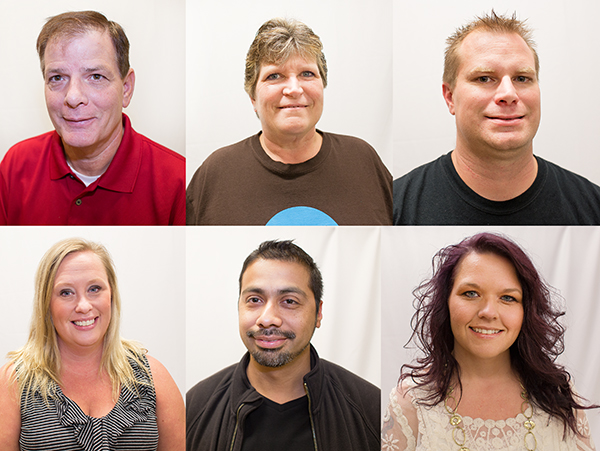 Clockwise, from top left, are Ric Staloch, Sandy Roe, Matthew Peterson, Jayne Stout, Rey Reyna and Rochelle Kirsch. Each have had their own experiences with addiction and recovery, and are all very active in their local recovery communities. - Colleen Harrison/Albert Lea Tribune