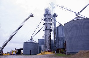 Smoke billows out of a grain dryer at 82632 110th St. Wednesday morning. — Sam Wilmes/Albert Lea Tribune