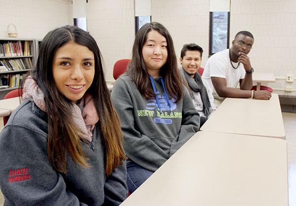 From left, Nicole Donoso, Amoe Sato, Jarol Santillan and Ghyslain Sossoukpe are all international students at Riverland Community College. -Sarah Stultz/Albert Lea Tribune