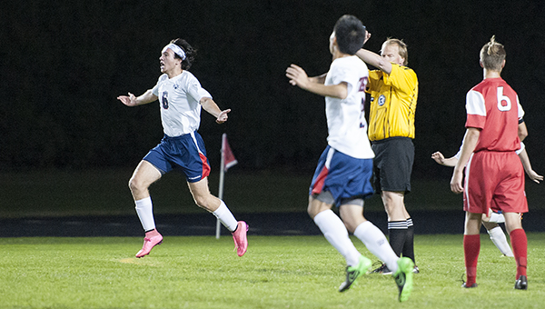 Colton Mowers, left, of Albert Lea celebrates after scoring a goal Tuesday against Mankato West at Jim Gustafson Field. — Micah Bader/Albert Lea Tribune