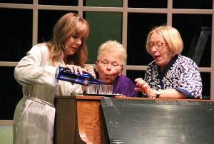 "Teresa Wilson, Joanne Fox and Karen Szymanowski rehearse for ""Calendar Girls"" which begins at the Marion Ross Performing Arts Center on Thursday. - Sarah Stultz/Albert Lea Tribune"