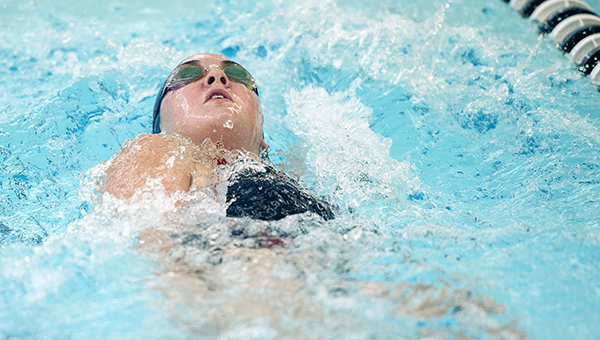 Albert Lea's Ahnika Jensen swims the backstroke portion of the 200-yard individual medley on Sept. 10 against Faribault at Albert Lea. The Tigers will compete in their final home meet at 6 p.m. Thursday against Mankato East. — Micah Bader/Albert Lea Tribune