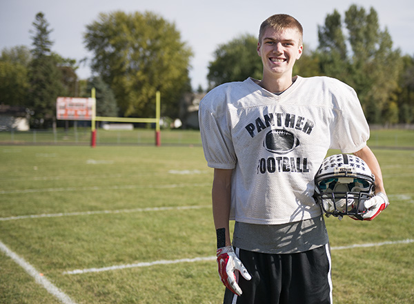John Cole is a senior at NRHEG and plays wide receiver for the Panthers varsity football team. -Colleen Harrison/Albert Lea Tribune