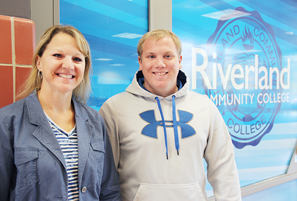 Amy Ferber and her son, Kellen, have both benefited from scholarships through Riverland Community College. - Sarah Stultz/Albert Lea Tribune