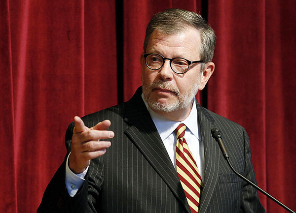 University of Minnesota President Eric Kaler gestures toward a reporter during a press conference Aug. 7. - Jim Mone/AP