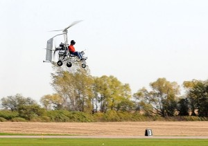 Denis Schoemaker brings his gyrocopter in for a landing at Mankato Regional Airport in Mankato. -  Pat Christman/Mankato Free Press
